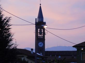 Campanile Poizzo d'Adda al tramonto- Raffaele Arrigoni